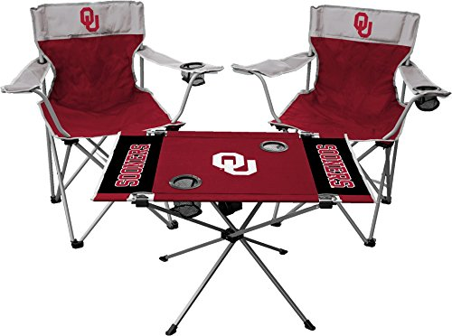 Rawlings NCAA 3-Piece Tailgate Kit, 2 Gameday Elite Chairs and 1 Endzone Tailgate Table, University of Oklahoma Sooners