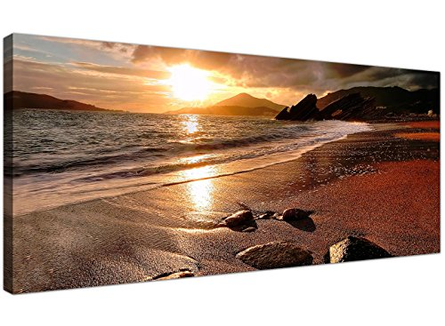 Wide Canvas Prints of a Beach Sunset for your Living Room - Modern Seaside Wall Art - 1131 - WallfillersÃ'® by Wallfillers
