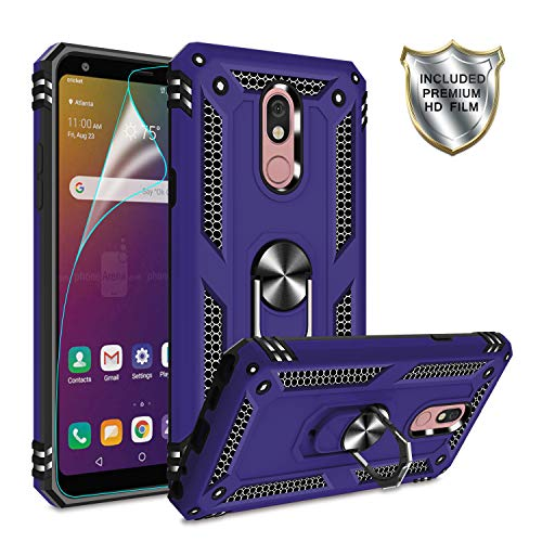 LG Stylo 5 Phone Case, LG Stylo 5 Cases with HD Screen Protector,Gritup 360 Degree Rotating Metal Ring Holder Kickstand Armor Anti-Scratch Shockproof Bracket Cover Phone Case for LG Stylo 5 Purple