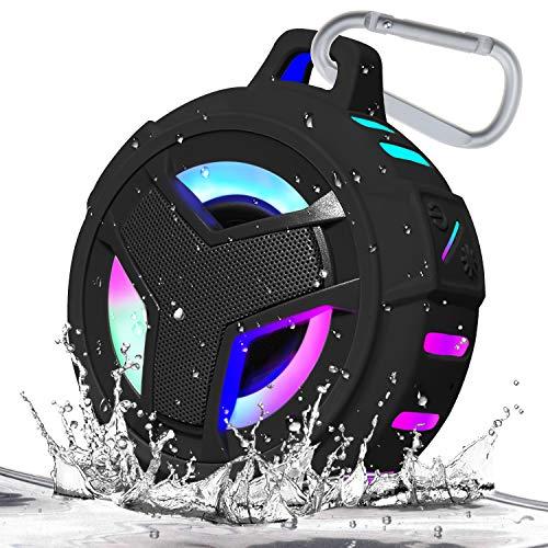 EBODA Bluetooth Shower Speaker, Waterproof Portable Bluetooth Speakers, TWS IP67 Waterproof Outdoor Speaker Wireless with LED Light, Floating, 2000mAh, Hands-Free for Shower, Pool, Beach, Bike -Black