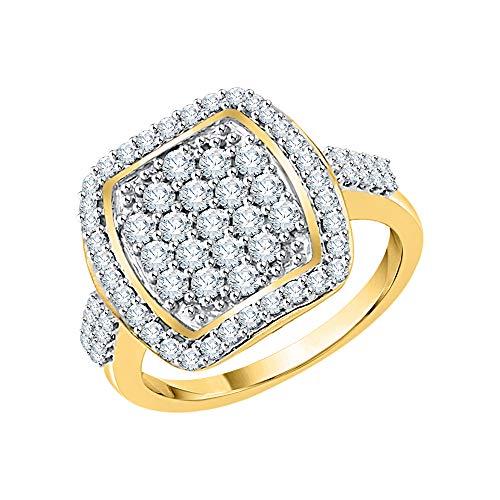 KATARINA Anillo de compromiso con racimo de diamantes en oro de 14 k (1 quilate, J-K, SI2-I1)