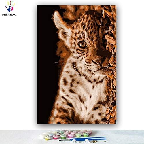 Tienda de moda y compras online. KYKDY Dibujos para Colorar de DIY por números números números con Colors Tigre en el agua Dibujo de un pequeño leopardo dibujo por números enmarcados Inicio, 2315,60x75 sin marco  tienda en linea