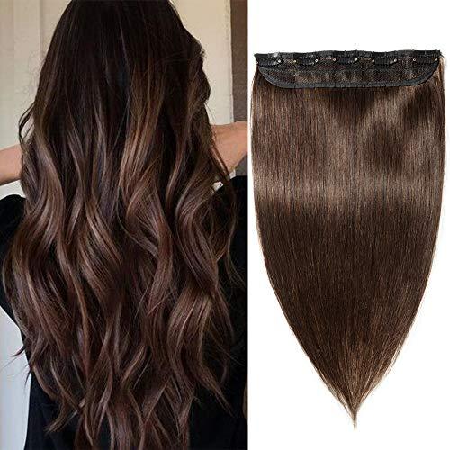Silk-co Extension A Clip Cheveux Naturel Une Pièce 5 Clips Lisse Rajout Cheveux Invisible Epaisseur Moyenne 100% Cheveux Humains Naturel 8 Pouces[#2 Brun Foncé]