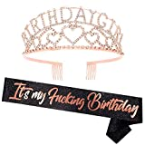 'It's My Fucking Birthday'Birthday Sash and Rhinestone Crown Set - Glitter Black Birthday Sash for Women + Rhinestone Crown Set Birthday Party Gifts Birthday Party Supplies