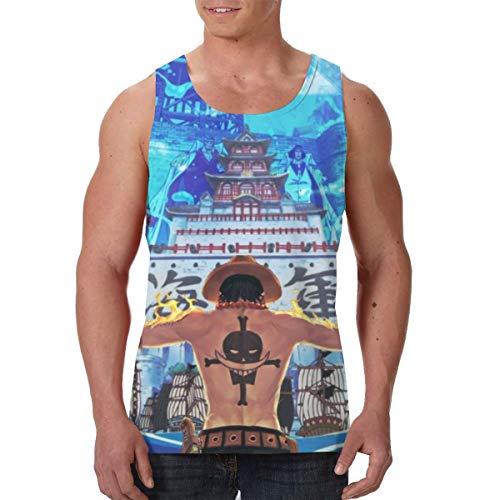Yynn Herren Anime One Piece Portgas D. Ace Lifestyle Premium Tank Top Athletic ärmellos Tee Print Grafik Tank Top XXL Schwarz