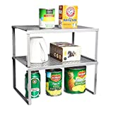 NEX Juego de 2 Estantes de Cocina Armarios y Mostrador Organizador de Estanterías Apilable Expandible, Astilla