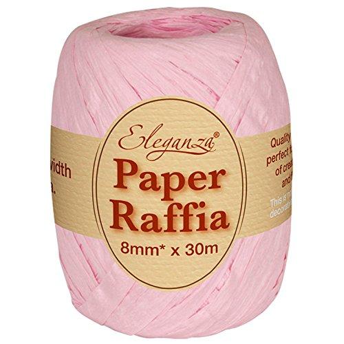 Eleganza 8 mm x 30 m Papierbast für verschiedenste Bastelprojekte und Geschenkverpackungen, No.21 Light Pink