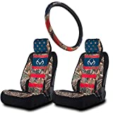 Realtree Americana Auto Accessories Kit, Realtree Edge, Black, and Mint Camo - Camo Low Back Seat Covers, Camo Floor Mats and Wheel Cover for Cars, SUV and Trucks (American Flag)