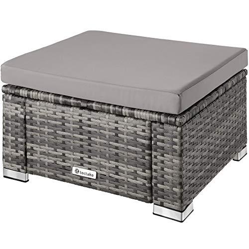 TecTake 800768 Taburete Puf de Poliratán, Asiento Muy cómodo, Resistente a Las inclemencias del Tiempo (Gris | No. 403582)