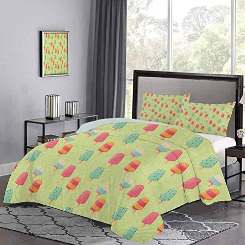 UNOSEKS LANZON - Juego de colcha para ropa de cama, diseño de dulces y coloridos dulces con influencias retro, fácil de lavar y secar en varios colores, tamaño doble