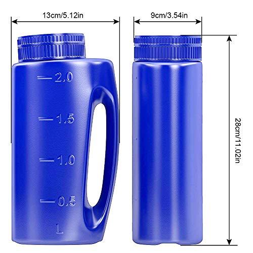 Millster - Esparcidor de Mano (2 L), Color Azul Tamaño de Agujero Ajustable para Semillas, Fertilizante, Sal para disipar o Cualquier tamaño Granulo, Completo con Cuchara