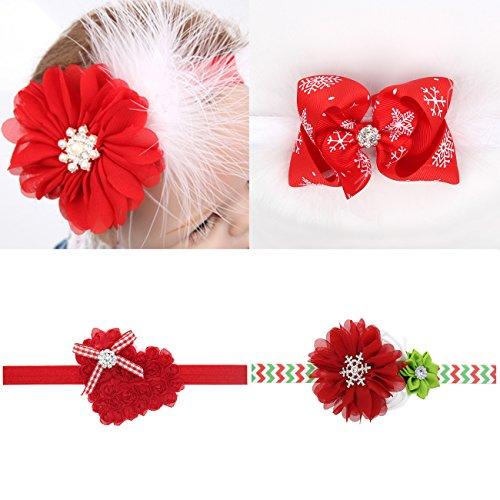 Txian - Cerchietto per capelli in raso con diamanti finti e motivo floreale, per bambine, confezione da 4.