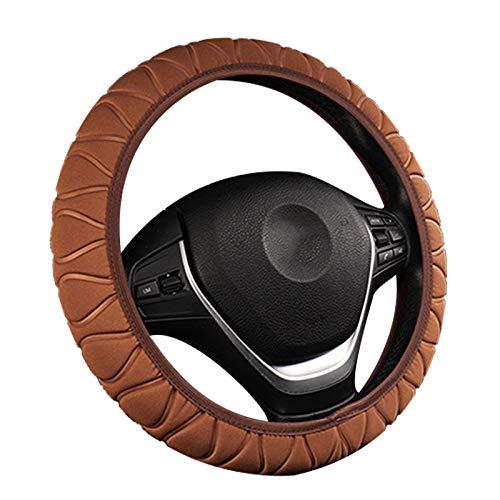 Linruo 37-38cm Cubierta del Volante de la Seda de la Seda de Hielo sin Anillo Interior Banda elástica Cubierta de la manija del Coche Accesorios para Interiores del automóvil (Color : Brown)