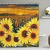 Sonnenblume Duschvorhang mit 12 Haken, Gelb Blumen Duschvorhang, Langlebig Wasserdicht Duschvorhang Pflanze Badvorhang für Badezimmer