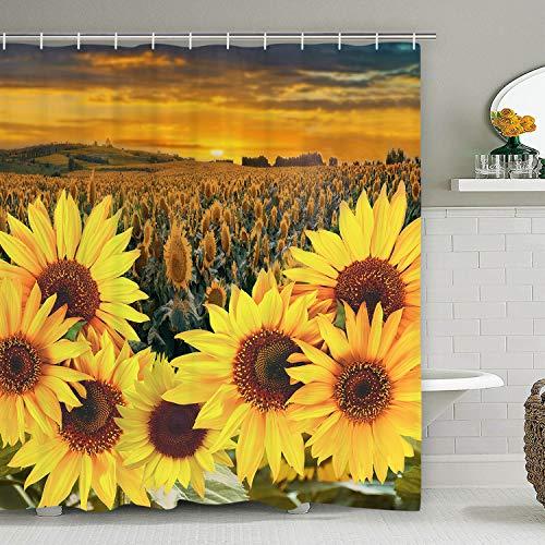 Sevenstars Sonnenblumen-Duschvorhang mit 12 Haken, gelb Blumen-Blumen-Duschvorhang, langlebig, wasserfest Duschvorhang für Badezimmer 70