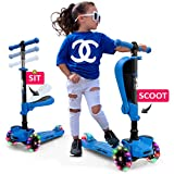 Hurtle 3 Wheeled Scooter for Kids - 2-in-1 Sit/Stand Child Toddlers Toy Kick Scooters w/Flip-Out Seat, Adjustable Height, Wide Deck,...