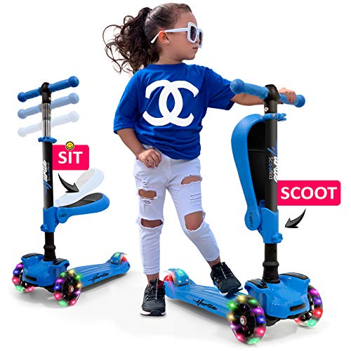 Hurtle 3 Wheeled Scooter for Kids - 2-in-1 Sit/Stand Child Toddlers Toy Kick Scooters w/Flip-Out Seat, Adjustable Height, Wide Deck, Flashing Wheel Lights, Great for Outdoor Fun HURFS56.5 (Blue)