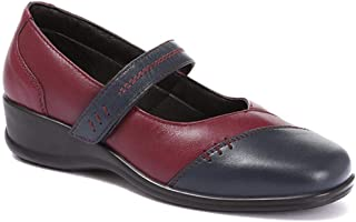 Pavers Womens Leather Touch Fastening Mary Jane Shoes Low Heel Cushioned Casual