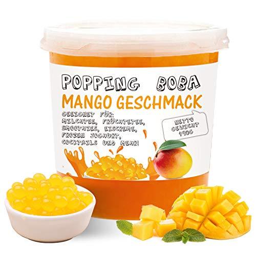 Original Bubble Tea Perlen - 490g Boba Pearls Mango Geschmack ● Popping Tee Fruchtperlen ● Hochwertige Fruit balls Original aus Taiwan ● 100% Vegan und Glutenfrei