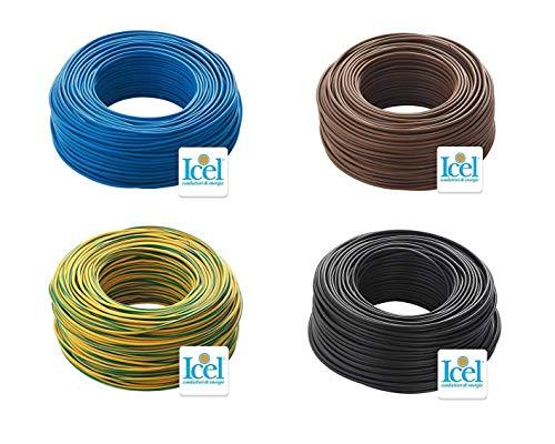Cavo Icel Elettrico Unipolare Isolante FS17 Matassa per impianti casa aziende edili 4 Matasse da 100 metri 400 metri totale Colore Blu-Nero-Marrone-Giallo/Verde (2,5 mm)