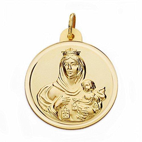 Medalla Oro 18K Virgen Del Carmen 28mm. Bisel Lisa [Aa2510Gr] - Personalizable - Grabación Incluida En El Precio