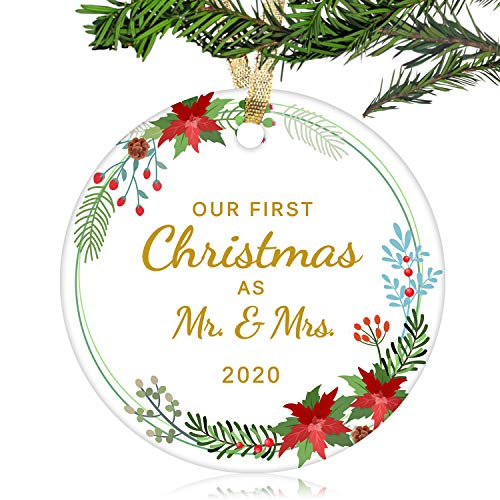 NURIONSS Our First Christmas as Mr & Mrs Ornaments 2020 - Christmas Wedding Decoration Gift for Couple Married Newlyweds - 3' Ceramic Ornament(Mr & Mrs 7)