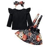 Falda de Halloween para niña pequeña, informal, de manga larga, con estampado de calabaza, con diadema, Negro, 2-3 Años