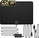 [Latest 2020] Macromolecule Performance Carbon Fiber 120 Miles TV Antenna, Amplified Indoor TV Digital HD Antenna 4K Fire TV Stick Local Channels All Type Television - No Vibration Omnidirectional