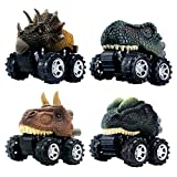 DINOBROS Pull Back Dinosaur Car Toys 4 Pack Dino Toys for 3 Year Old Boys and Toddlers T-Rex...