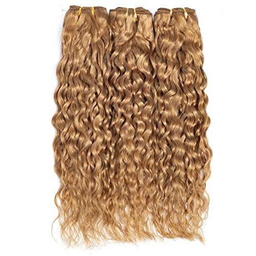 FEEL ME Honey Blonde Water Wave Human Hair Bundles 8A Mink Brazilian Hair Weave Bundles Unprocessed Water Wave Virgin Hair Extension Color 27 Brazilian Human Hair 3 Bundles 10 12 14