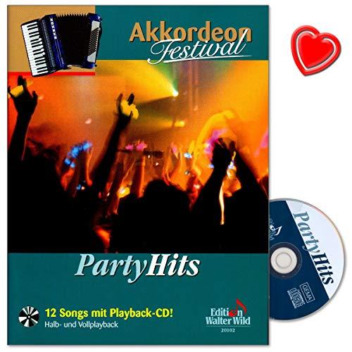 Party Hits aus der Serie Akkordeon Festival - Herausgeber Arturo Himmer - 12 Songs mit Playback-CD und bunter herzförmiger Notenklammer