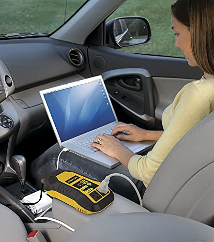 STANLEY PI500S Power Inverter 500W Car Converter: Dual AC Outlets, 3.1A USB Ports, 12V DC Adapter, Battery Clamps
