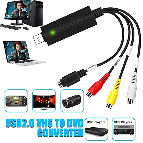 DIWUER Convertidor de Captura de Audio Video USB2.0, DVD VHS VCR Grabber Digital Grabador para Mac Windows 7 8 10, Digitalice y Edite Video