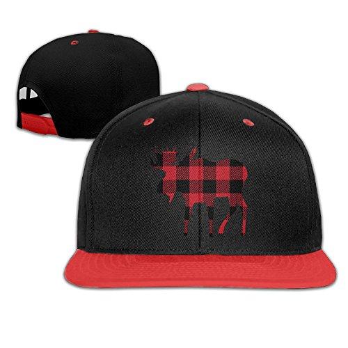 Buffalo Plaid Moose Lumberjack Red Black Kids Boy's & Girl's Outdoor Hip Hop Golf Cotton Cap Hat Adjustable