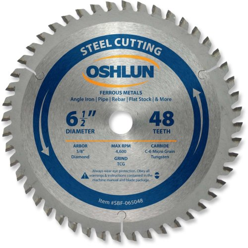 Oshlun SBF-065048 6-1/2-Inch 48 Tooth TCG Saw Blade with 5/8-Inch Arbor (Diamond Knockout) for Mild Steel and Ferrous Metals
