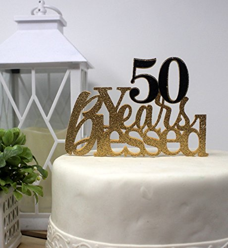 All About Details 50 Years Blessed Cake (Gold & Black),1 PC, Birthday, 50th Anniversary, Party Decor, Glitter Topper, 6 x 8