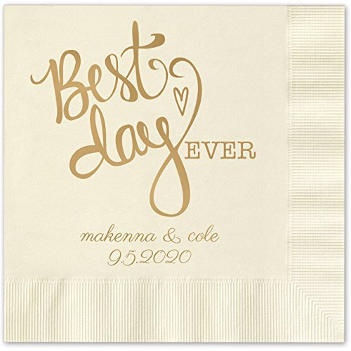 Canopy Street Best Day Ever Heart Personalized Beverage Cocktail Napkins - 100 Custom Printed Ecru Paper Napkins with choice of foil