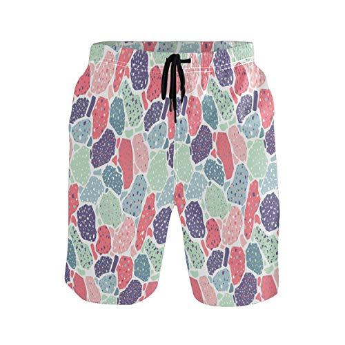 Sawhonn Arte Abstracto Terrazo Bañador para Hombre Pantalones Cortos Bañadores Shorts para...