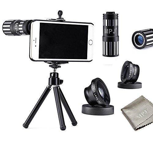 iPhone 6S Plus Lens Kit, MPJ Camera Lens Kit for Apple iPhone 6 Plus 6S Plus Including 12x Zoom Aluminum Telephone Manual Focus Telescopic Optical Lens/One Fish Eye Lens/1 2in1 Macro Lens and Wide Angle Lens (Black)