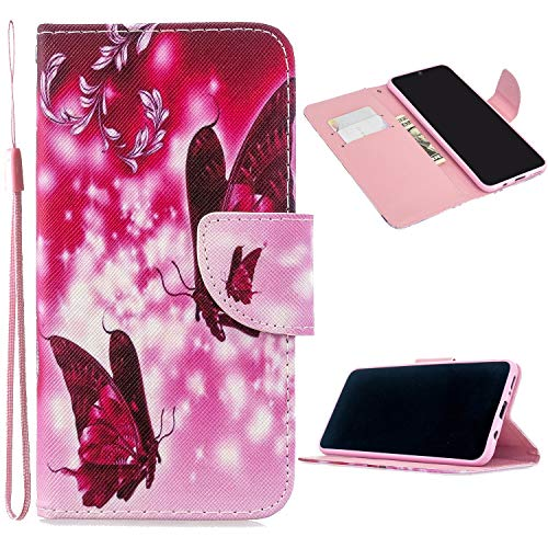 Miagon Full Body Cover Hülle für iPhone XS Max,Bunt Muster Design PU Leder Handyhülle Klapphülle Schutzhülle mit Karten Steckfächern Standfunktion,Rot Schmetterling