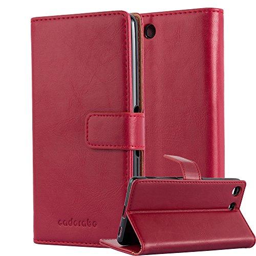 Cadorabo Hülle für Sony Xperia M5 in Wein ROT – Handyhülle mit Magnetverschluss, Standfunktion & Kartenfach – Hülle Cover Schutzhülle Etui Tasche Book Klapp Style
