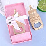 Yuokwer 12pcs Bottle Opener Baby Shower Favor for Guest,Rose Gold Feeding Bottle Opener Wedding Favors Baby Shower Giveaways Gift to Guest, Party Favors Gift & Party Decorations Supplies (Pink, 12)