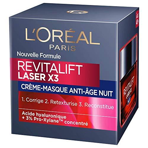 L'Oréal Paris - Revitalift - Laser X3 - Crème Masque Nuit Triple Action - Anti-Rides & Multi-Correction - Anti-Âge - 50 mL