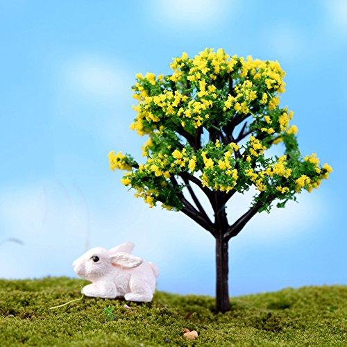 Ruimin DIY Micro Paysage Artical bonsaï Plante Mini arbre miniature Résine Craft pour Home Garden Decor, Motif à fleurs - Jaune