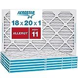 Aerostar Allergen & Pet Dander 18x20x1 MERV 11 Pleated Air Filter, Made in the USA, 6-Pack