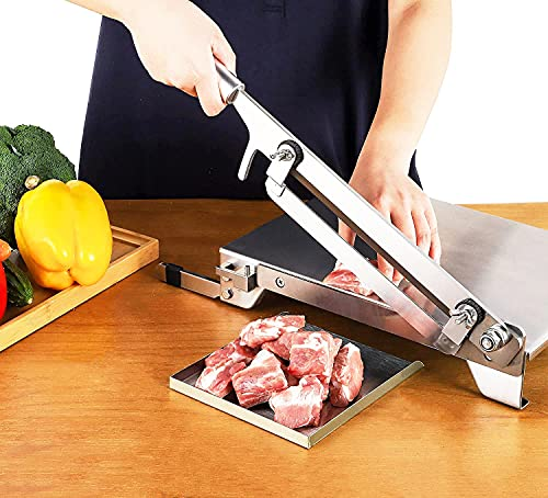 CGOLDENWALL Cortafiambre Manual Cortador de Carne y Hueso con Cuchilla de Acero Inoxidable 4Cr13 para Vegetal, Pez, Pollo, Filete, Hueso