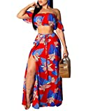 Rela Bota Women's Sexy 2 Piece Outfit Printed Off Shoulder Crop Top Maxi Skirt Slit Party Dress Red XXL