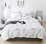 CLOTHKNOW White Marble Queen Bed Comforter Sets Grey White Bedding Comforter Sets Full Girls Boys Women Gray Bedding Soft Bed Bedding for All Seasons 3Pcs Bedding Comforter Sets with 2 Pillowcases