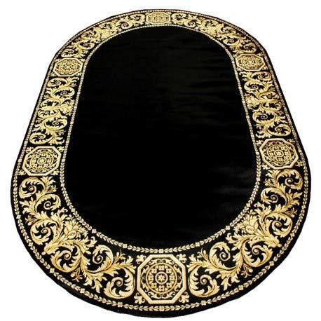 Belle Arti Premium Mäander Barock Teppich Oval aus 100% Viskose im Meander Medusa Design Carpet versac erhältlich (Schwarz, 152 x 230 cm)