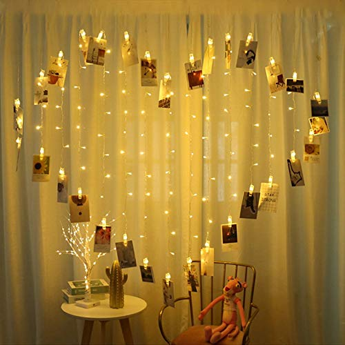 LED cadena de luces tarjeta clip de fotos cuento de hadas guirnalda luces decoración navideña luces navideñas cadena batería 3m30 leds